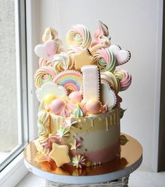 A beautiful big pastel colored rainbow drip cake. Candy Cakes, Cupcake Cakes, Beautiful Cakes, Amazing Cakes, Naked Cakes, My Birthday Cake, Gateaux Cake, Cake Decorating Tools, Drip Cakes