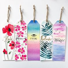 Creative Bookmarks, Cute Bookmarks, Bookmark Craft, Bookmark Ideas, Paper Bookmarks, Watercolor Bookmarks, Watercolor Cards, Floral Watercolor, Watercolour
