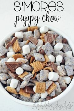 """""""Puppy Chow"""" Mix a summer classic reinvented! This s'mores puppy chow is everything and more!a summer classic reinvented! This s'mores puppy chow is everything and more! Köstliche Desserts, Delicious Desserts, Dessert Recipes, Yummy Food, Healthy Desserts, Healthy Recipes, Plated Desserts, Yummy Recipes, Trail Mix Recipes"""