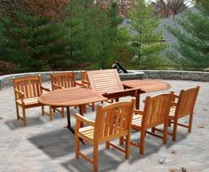 Vifah V144SET22 Outdoor Dining Set with Oval Extension Table & 6 Wood