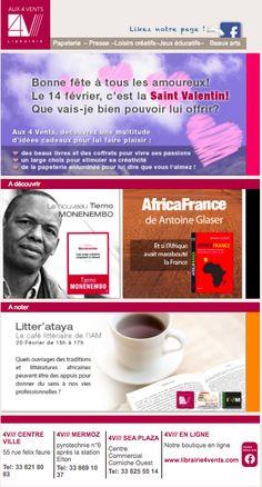 Emailing de février 2015 librairie 4 Vents Dakar pour la Saint Valentin