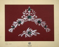 Design of a Diadem:  Drawings, Watercolour and gouache, 36.5x45 cm Origin: Russia, 1903, Firm 'Friedrich Butz' Album: Designs for the competition ''Headdress Decorated with Emeralds'', 1903-1904 Source of entry: State Museum of Ethnography of the Peoples of the USSR, Leningrad, 1941