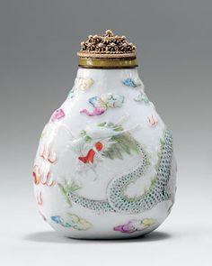 Molded famille-rose porcelain snuff bottle