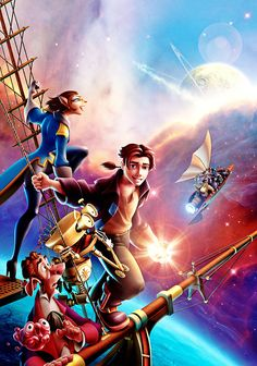"Walt Disney Poster of Captain Amelia, Jim Hawkins, Long John Silver, B. Delbert Doppler and Morf from ""Treasure Planet"" 32526516 Disney Pixar, Walt Disney Characters, Film Disney, Disney Posters, Disney Animation, Disney And Dreamworks, Disney Movies, Movie Posters, Et Wallpaper"