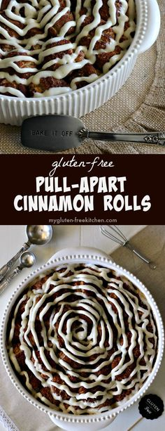 Perfect for weekend mornings or holiday brunch, these gluten-free pull-apart cinnamon rolls are gooey, cinnamon deliciousness drizzled with a cream cheese frosting.