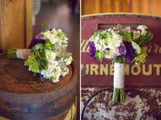 Purple, white and green bouquet // photo by http://www.liveviewstudios.com/