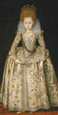 Wheel farthingale with embroidery and ALL THAT HAIR. Wowza! (early 17th century)
