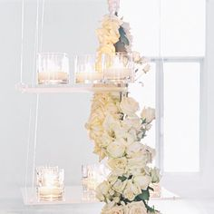 Romantic White Rose and Candle Decor  - An insider's guide to turning your party into a winter wonderland  - Wedding Style