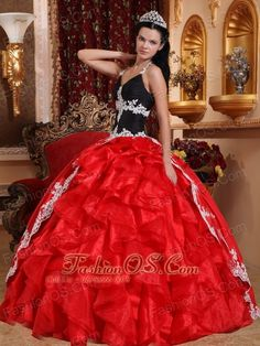 Gorgeous Red and Black Quinceanera Dress V-neck Floor-length Taffeta and Organza Appliques Ball Gown- $208.79  http://www.fashionos.com  http://www.facebook.com/prom.fashionos.us   It features a stunning and fabulous bodice with straps. And the bodice hugs your body well. The skirt is in a totally different color, classical red and black perfectly combined,making it eye-cathching.A gorgeous dress for when there's no second chance to make a first impression.