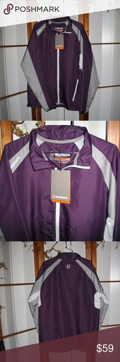 """🌹Sale🌹Sunice Sport Dalkey Golf Jacket Jet Set Sunice Sport Men's Dalkey Full Zip Jacket X20 Size Large.  The color on the tag is Jet Set/Ombre (purple, gray & white).  The jacket is lined and the lining is removable.  Has front zipper pockets, Mesh panels under the arms.  Interior adjustments.  Full zip jacket with zipper pull. Jacket is 100% polyester and measures 30"""" long and 24"""" across the chest, sleeves measures 23. Winter golf action wear. Brand New No Defects.  Thanks for Looking…"""