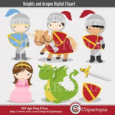 Caballeros y Dragon Digital Clipart para uso Personal y Comercial / DESCARGA INSTANTANEA