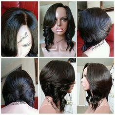 """(SOLD) Client ordered the styled full wig service as well as the bob cut service. She provided 3 bundles of 12"""" www.peakmill.mayvenn.com brazilian straight with a matching lace closure. For pricing and to order your own custom wig service, visit www.peak-mill.com"""