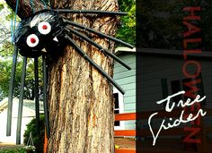 This outdoor halloween decoration is made from a large garbage bag and some pipe insulators--easy and perfect to scare-ify your house!