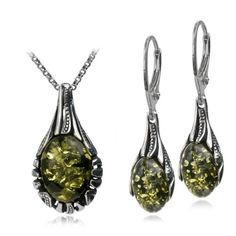 Sterling Silver Green Amber Drop Necklace 18 Inches Leverback Oval Earrings Set $49.98 #bestseller