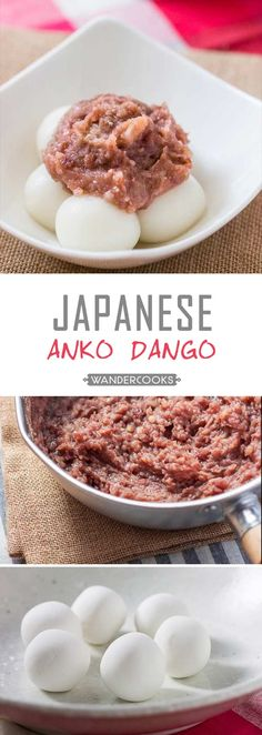 Red Bean Paste with Rice Flour Dumplings (Anko Dango) - A deliciously sweet treat you'll find everywhere in Japan!  This sweet red bean paste goes amazingly with soft chewy rice flour dumplings that are SO EASY to make.   wandercooks.com