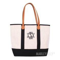 Monogrammed Seersucker Tote Bag | Marleylilly