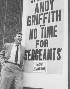 Andy Griffith in Winston-Salem July 5, 1958 for No Time for Sergeants. A native of Mount Airy, just half an hour away from Winston-Salem, Griffith is a television legend and icon of North Carolina.