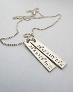 Personalized Necklace with Longitude and by JewelryByRMSmith, $38.00  With the longitude and latitude we met at