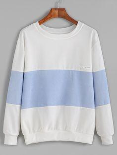 Color Block Letters Patch Sweatshirt — 0.00 € -------------------color: Blue size: one-size