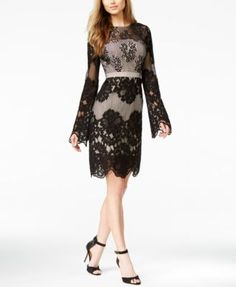 GUESS Long-Sleeve Lace Dress Lace Dress Black, Lace Dress With Sleeves,  Dress 8a9c3609de