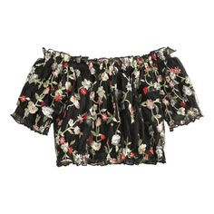 Off Shoulder Floral Embroidered Mesh Blouse (96 PEN) ❤ liked on Polyvore featuring tops, blouses, off-shoulder tops, floral embroidered top, flower embroidered top, floral embroidered mesh top and off-shoulder blouses