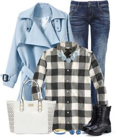 11 Cool Ways to Wear Baby Blue this Fall: #9. Polyvore Outfit Ideas: Baby blue coat, black-and-white plaid shirt and blue jeans