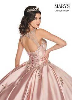 This classy ball gown by Mary's quinceanera is made in a shiny dupioni fabric for a luxurious look. Ball Gown Dresses, Pageant Dresses, Quinceanera Dresses, Girls Dresses, Xv Dresses, Quinceanera Ideas, Evening Dresses, Fashion Dresses, Formal Dresses