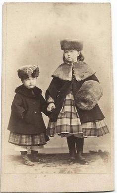 1860s Little Girls in Plaid Dresses Coats Fur Hats Muff CDV | eBay
