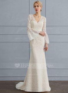 f933088b89dd Trumpet/Sjöjungfru V-ringning Sweep släp Spets Bröllopsklänning med Beading  (002124267)