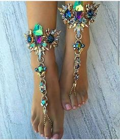 Toe Thongs with Crystals