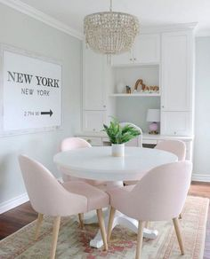 20 Lovely Pink Dining Room Chairs Ideas For Your Dining Room. 20 Lovely Pink Dining Room Chairs Ideas For Your Dining Room. One of the hottest trends in home decor these days is the upsurge in popularity of modern dining room chairs. Pink Dining Rooms, Dining Room Chairs, Kitchen Chairs, Kitchen Dining, Kitchen Nook, Kitchen White, Modern Dining Rooms, White Dining Table Modern, Room Interior
