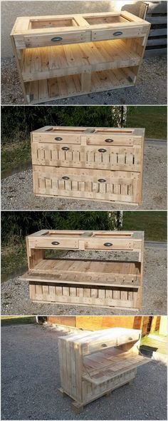 Another stunning idea for designing of pallet cabinet is used. This unique cabinet can be utilized in maintenance of kitchen utensils in kitchen.