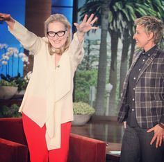 "Two of my most favorite people, in one picture.  The Oscar nominated Meryl Streep on Ellen for ""August: Osage County"""