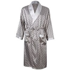 858cc53e94 Lintimes - Men s Comfortable 100% Silk Satin Robe Bathrobe Luxury Sleepwear  Loungewear Color Grey Size Asia L - Walmart.com