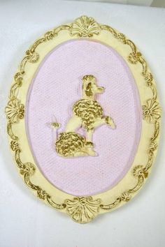"""""""Girotti Sculptured Art"""" Oval Ornate Framed Poodle on Pink Background - Hook Ready to Hang - Made in St. Catharines, ONTARIO CANADA - 11.25"""" x 8"""""""