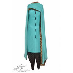 Pretty azure unstitched suit with benarasi salwar-Mohan's the chic window Designer Punjabi Suits, Indian Designer Wear, Patiala Salwar Suits, Punjabi Fashion, Indian Party Wear, Indian Ethnic Wear, The Chic, Kurtis, Pakistani