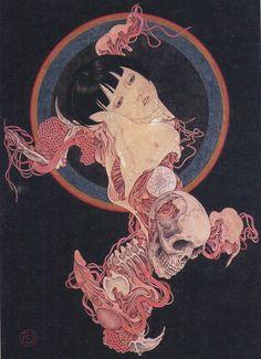 Takato Yamamoto - Japanese Illustration - Heisei Estheticism - Abyss Of Worries Art And Illustration, Illustrations, Japanese Illustration, Arte Horror, Horror Art, Kunst Inspo, Art Inspo, Art Chinois, Arte Obscura