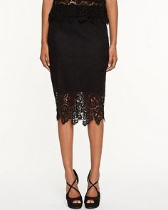 Lace Pull-on Pencil Skirt - A fitted pencil skirt that is defined by frilly, feminine lace.