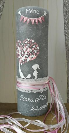 Baptism Alder Candle Clara Vintage Lace Child Bird XXL - unusual christening candle in rustic gray size: 100 x 300 mm for the little princess Description of - Diy Gifts For Christmas, Diy Gifts For Kids, Diy Gifts For Boyfriend, Popsicle Stick Crafts, Craft Stick Crafts, Popsicle Sticks, Baptism Candle, Style Rustique, Diy Candles