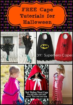 The Best Free Cape Tutorials for Halloween!  The cape is a key element to completing a costume. It can add warmth , drama, and let's be honest capes are just fun to run around in. Here are some great cape tutorials from around the web to prepare you for Halloween costume sewing!