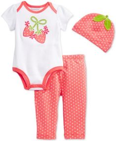 First Impressions Baby Girls' 3-Piece Strawberry Bodysuit, Leggings & Hat Set, Only at Macy's