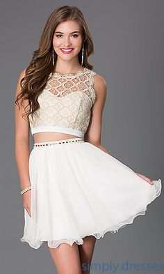 Shop two-piece short ivory-white Sequin Hearts lace dresses at Simply Dresses. Short party dresses with lacy crop tops for prom or semi-formals.