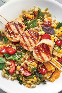 This version a favorite for quick and easy backyard dinners incorporates miso ginger and toasted sesame adding a savory dimension to the salad and a rich contrast to the corn and scallops inherent sweetness. Seafood Scallops, Grilled Scallops, Scallops On The Grill, Sea Scallops, Fish Recipes, Seafood Recipes, Cooking Recipes, Healthy Recipes, Recipies