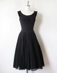 1960s black chiffon dress