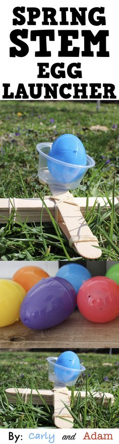 Design a catapult to launch a plastic egg with this Spring STEM challenge!