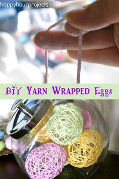 DIY Yarn Wrapped Eggs ~ another easy Easter Craft