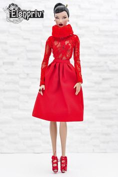ELENPRIV red lace poloneck top for Fashion royalty FR2 and similar size dolls #Elenpriv