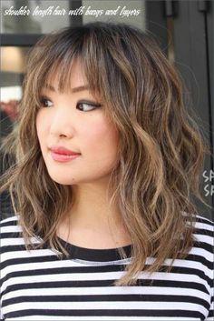 Shoulder Length Hair With Bangs, Medium Length Hair Cuts With Layers, Shoulder Hair, Medium Hair Cuts, Haircut Medium, Haircut Short, Haircut Bob, Shoulder Layered Hair, Shoulder Length Layered Hairstyles