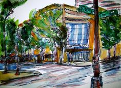 """Allen Forrest's """"Fifth Avenue and Pike Street #2."""" Ink on watercolor, 2012. See the rest of 'Seattle Blues' at http://terrain.org/2014/arterrain/seattle-blues-paintings"""