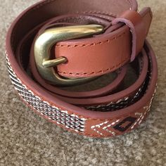 Skinny leather belt Aztec inspired embroidery. Genuine leather. American Eagle Outfitters Accessories Belts